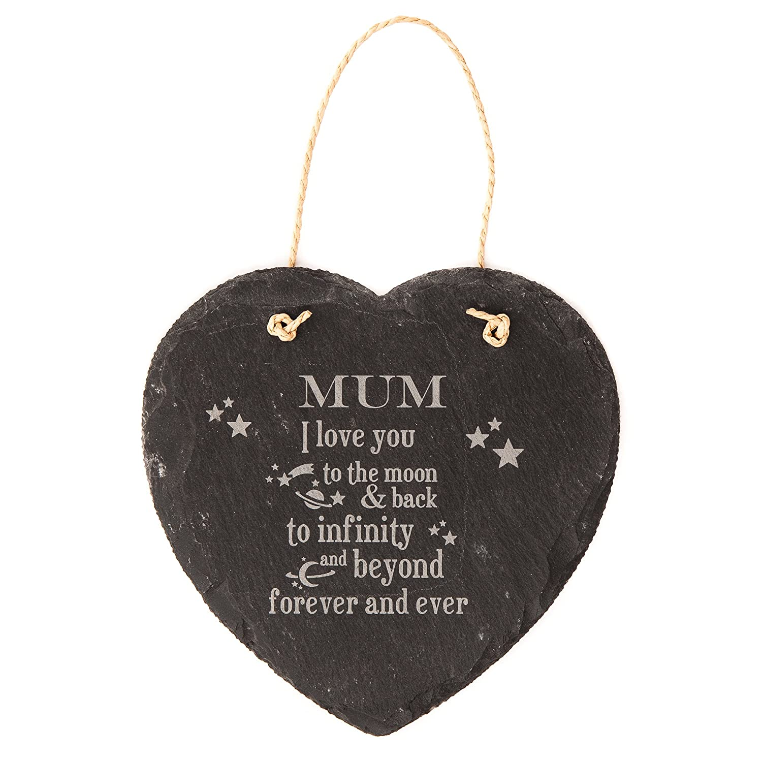 Hoolaroo Engraved Heart Hanging Slate Sign 14cm I love you to the moon and back, to infinity and beyond forever and ever 506024dfq