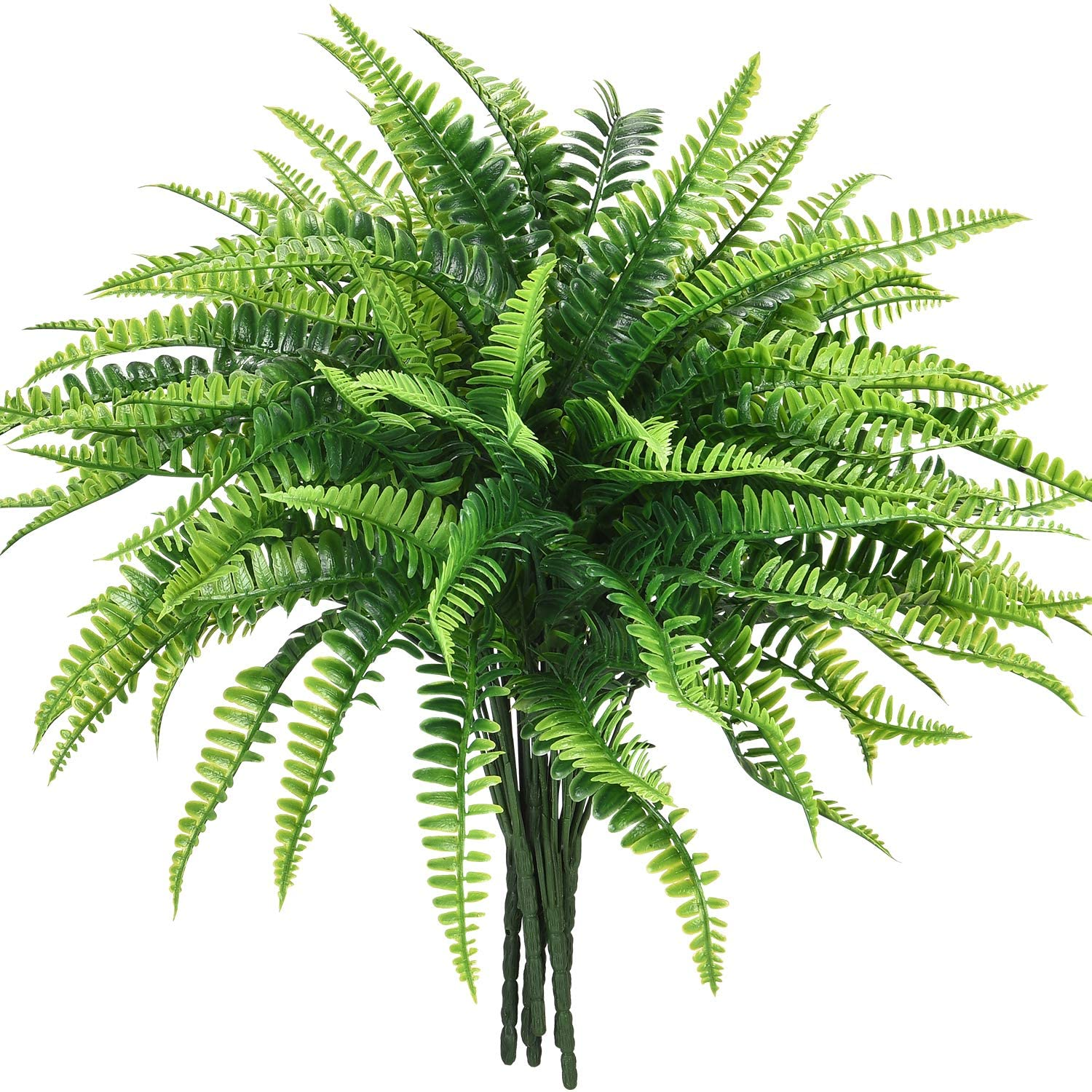 Shiny Flower 6 PCS Artificial Shrubs Fake Boston Fern Plants Natural Fern Bushes Greenery Bunches Vivid Realistic Arrangements Decoration for Veranda Office Garden House Indoor Outdoor