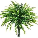 Shiny Flower 6 PCS Artificial Shrubs Fake Boston Fern Plants Natural Fern Bushes Greenery Bunches Vivid Realistic Arrangement