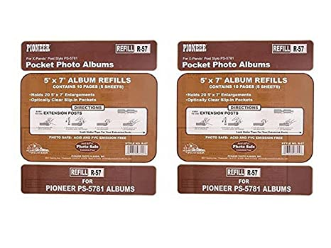 Amazoncom Set Of 2 Pioneer Double 5x7 Pocket Album Refill Page