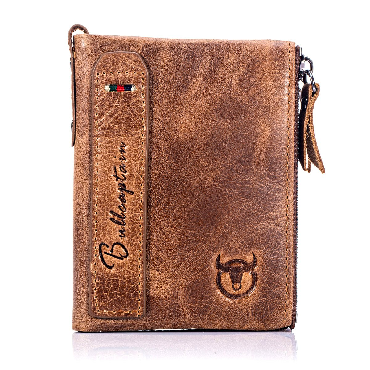 8c7d96ccc BULLCAPTAIN Wallets for Men with Double Zip Coin Purse Bifold Vintage  Genuine Leather Front Pocket Wallet QB-6