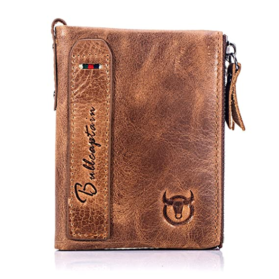7bf08d46d2a5 BULL CAPTAIN Wallets for Men with Double Zip Coin Purse Bifold Vintage  Genuine Leather Slim Front Pocket Wallet Money Clip QB-6 - Brown -   Amazon.co.uk  ...