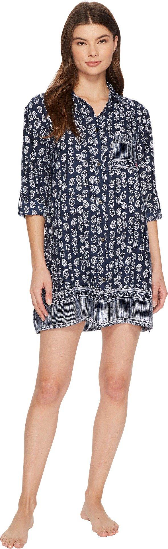 Lucky Brand Women's Flannel Button Down Sleepshirt, Juliet Border, M