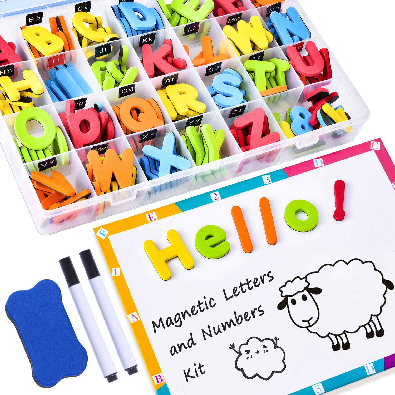 225Pcs Magnetic Letters and Numbers for Kids with Double-Side Magnet Board and Storage Box - ABC Uppercase Lowercase Foam Alphabet Letters for Toddlers - Classroom Home Education Spelling Learning Set by GINMIC