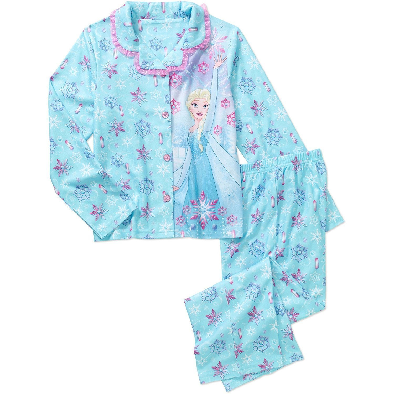 Snowflakes Size Med 7//8 Girls Blue Frozen Elsa Flannel Pajamas