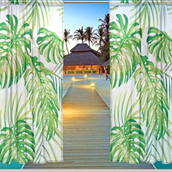 ALAZA Window Sheer Curtain Panels,Christmas Decoration Tropical Vacation  Coconut Leaves Floral,Door Window