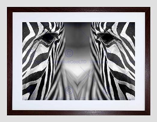 ZEBRA BLACK WHITE ANIMAL SYMMETRY CLOSE UP BLACK FRAMED ART PRINT B12X8968