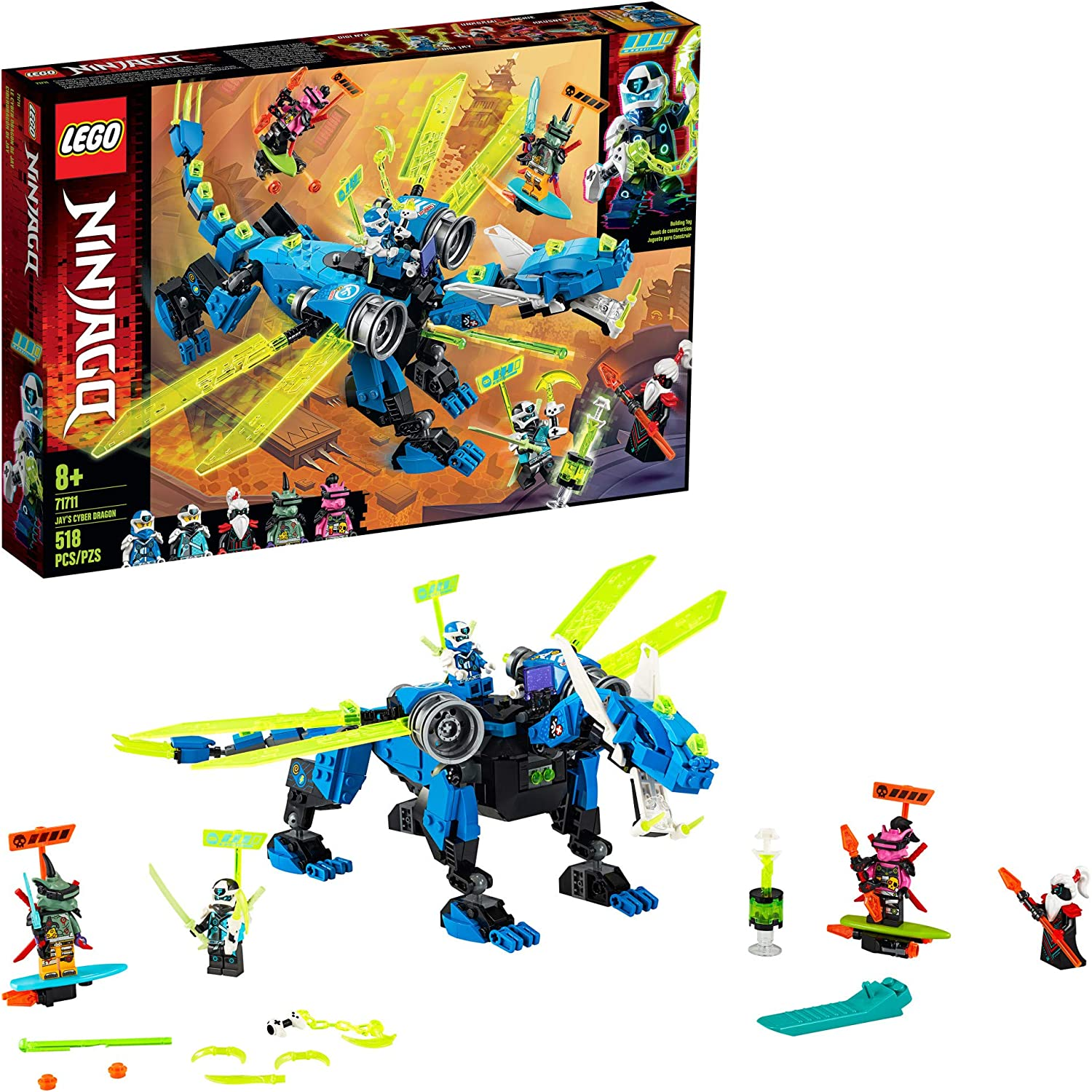 LEGO NINJAGO Jay's Cyber Dragon 71711 Ninja Action Toy Building Kit, New 2020 (518 Pieces)