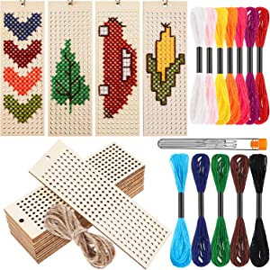 WILLBOND 15 Pieces DIY Wooden Cross Stitch Beginner Set, Art and Crafts Sewing Wooden Slices with Embroidery Threads and Embroidery Needles for Sewing Kits for Starters