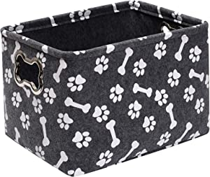 Felt pet Basket Baskets, Puppy Storage Box Small with Designed Metal Handle, Dog Stuff Box - Perfect for organizing pet Toys, Blankets, leashes, Dry Food and Bone Grey