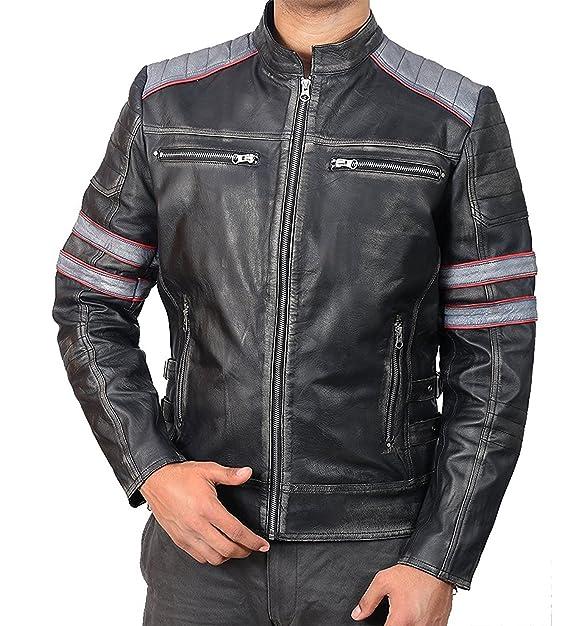 Amazon.com: Chaqueta de piel para hombre Super Cafe Racer ...