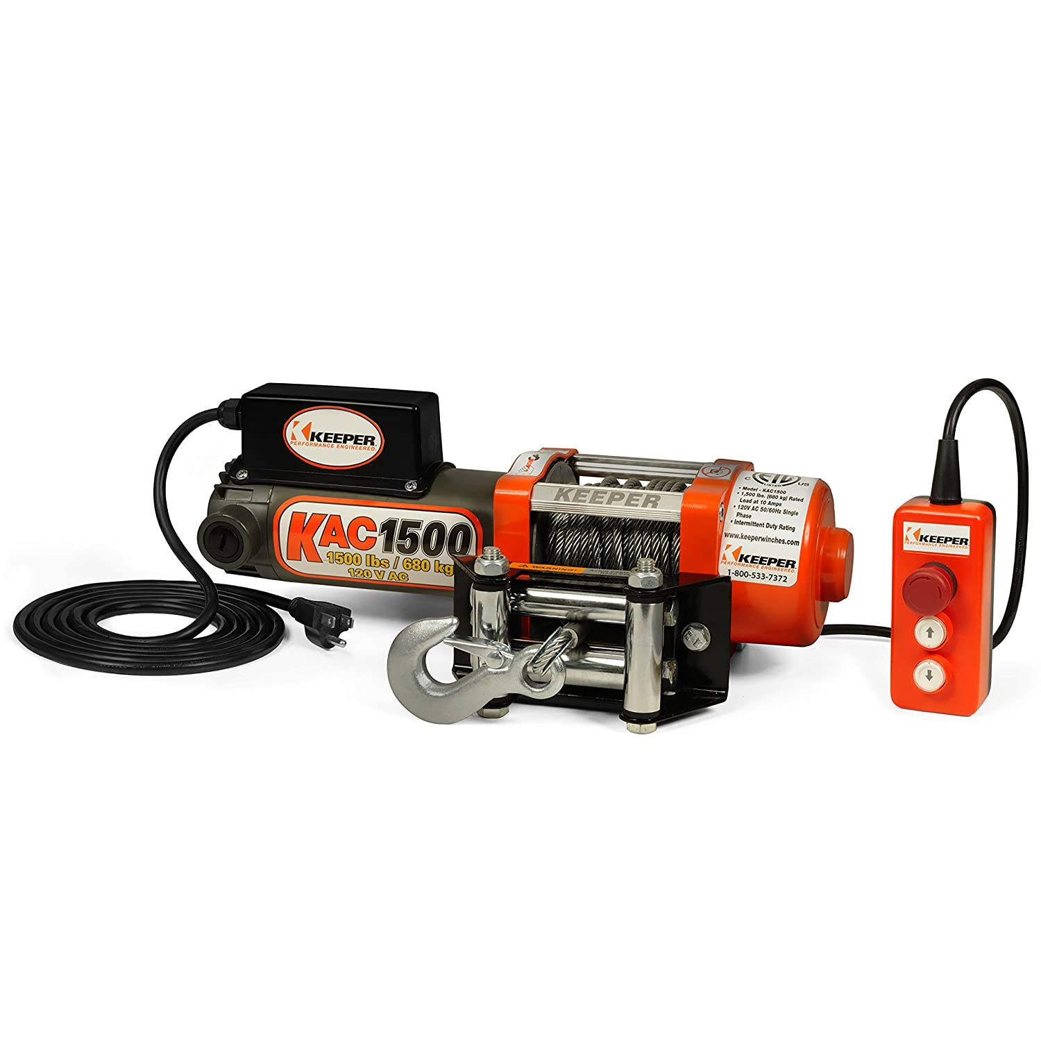 Amazon.com: Keeper KAC1500 110/120V AC Electric Winch with Hand Held Remote  - 1500 lb. Capacity: Automotive