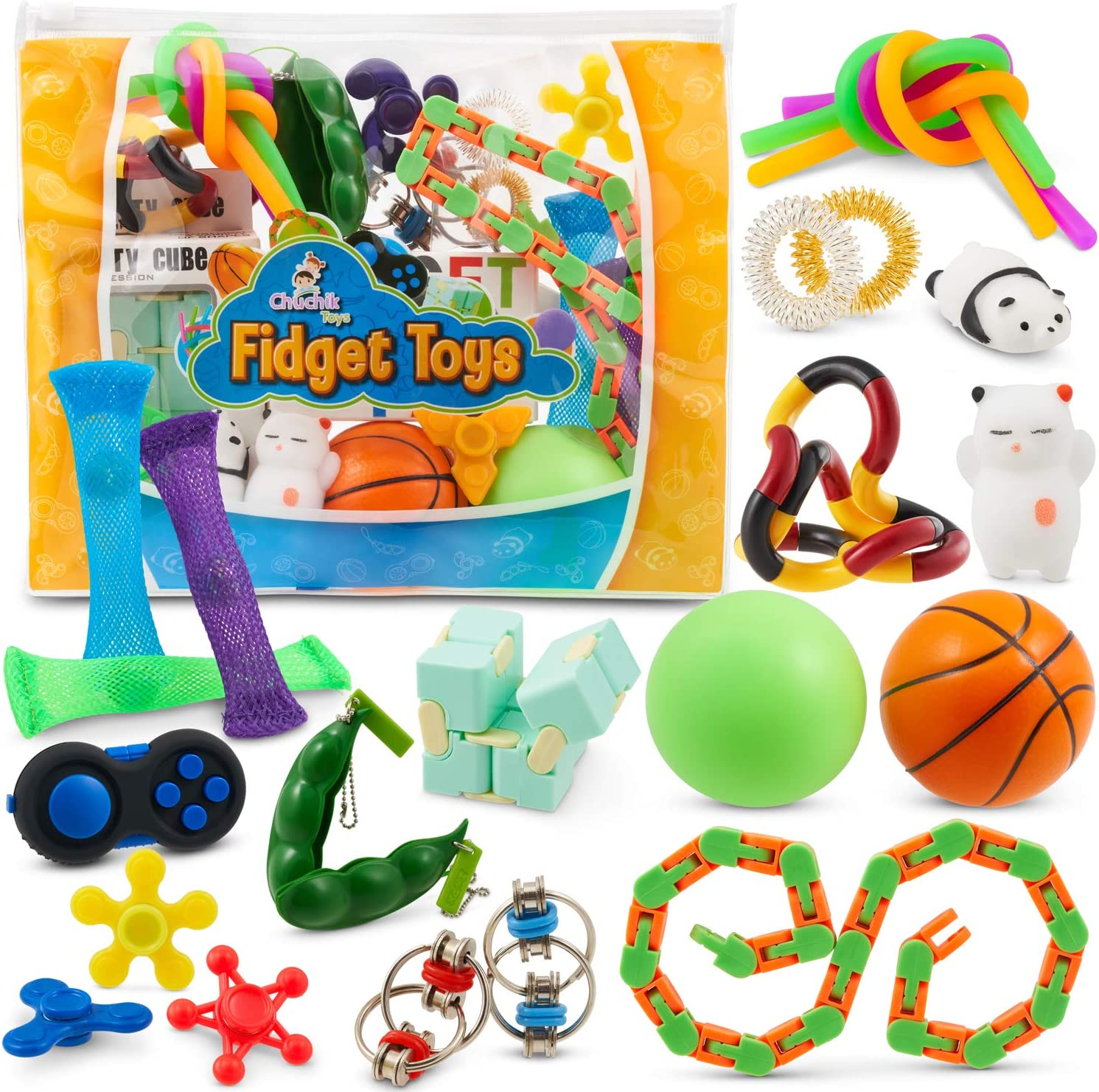 Sensory Fidget Toys 23-Pack – Stress Relief Toys for Focus & Calm – Toy Box & Party Favor Pack + Reusable Bag – Fidget Spinner, Stress Ball, Infinity Cube, Sensory Rings, & More by Chuchik