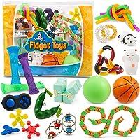 Sensory Fidget Toys 23-Pack – Stress Relief Toys for Focus & Calm – Toy Box & Party Favor Fidget Pack + Reusable Bag…