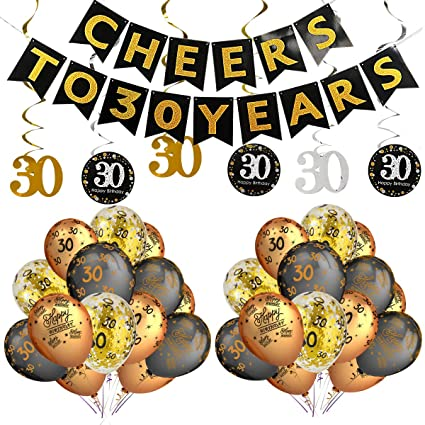 30th Birthday Party Decorations Kit Cheers To 30 Years BannerSparkling Celebration Hanging