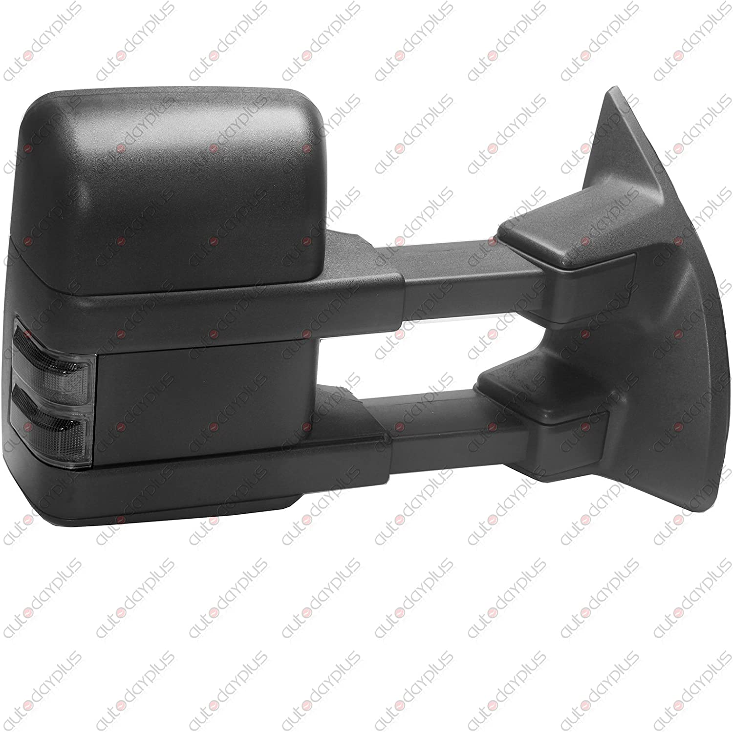 Towing Telescoping Folding Black Textured Tow Mirrors Power Heated with Smoke Signal and Dual Glass for 08-14 Ford F250 F350 F450 F550 Super Duty Left/&right Passenger/&driver Side View Mirror Pair Set