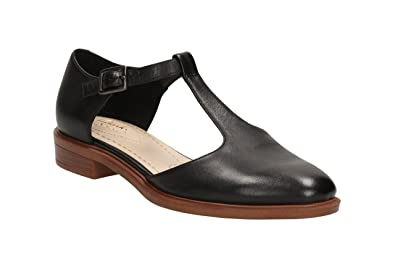 Clarks Women's Man-Tailored Flats T-Bar Shoes Taylor Palm Black Leather