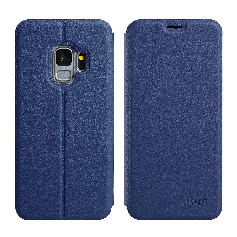 doupi Deluxe FlipCover para Samsung Galaxy S9, Carcasa Case magnético Funda Caso tirón Estilo Libro Protector de Cuero Artificial, Azul