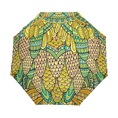 LORVIES Hand Drawn Abstract Golden Peacock Pattern Automatic 3 Folding Parasol Umbrella