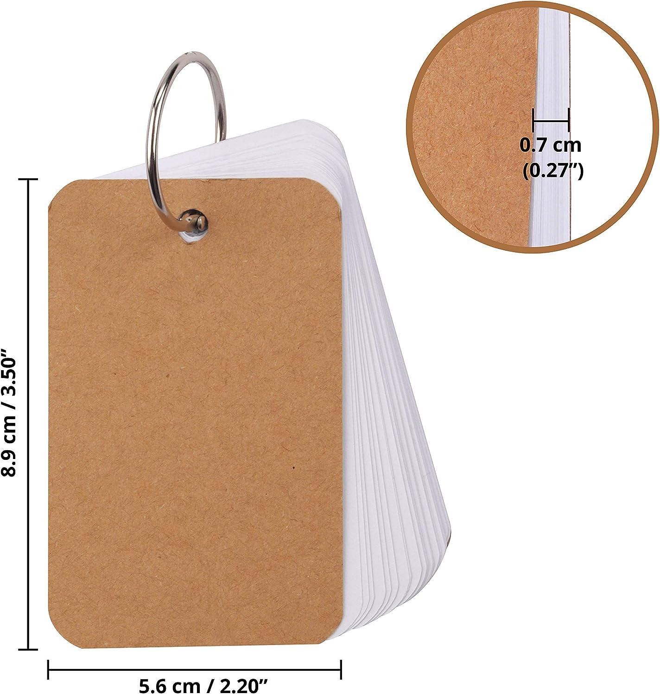 Tarjetas para Estudiar 600 Hojas 110 GSM Pack de 12 Fichas de Estudio con Anilla de Carpeta Escuela Oficina - 8,9 x 5,6cm x 0,7cm 50 Hojas en Blanco en cada Lote Mini Fichas para el Hogar