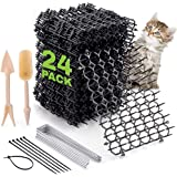 Cat Scat Spike Strips (24Pack) - Pet and Dog Deterrent Prickle Mat for Garden, Porch, Home – Effective, Non-Invasive and Safe
