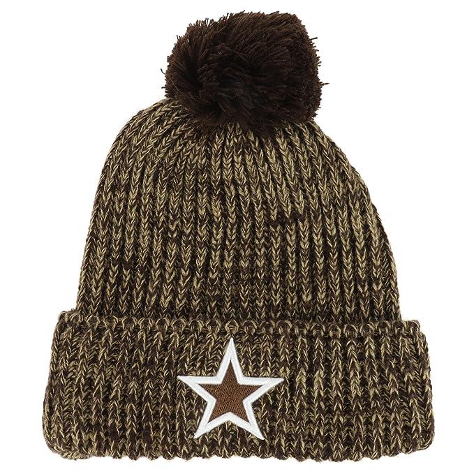 99addd217e7 Amazon.com  Trendy Apparel Shop Dallas Lone Star Embroidered Ribbed Knit  Pom Pom Long Cuff Beanie - Brown  Clothing