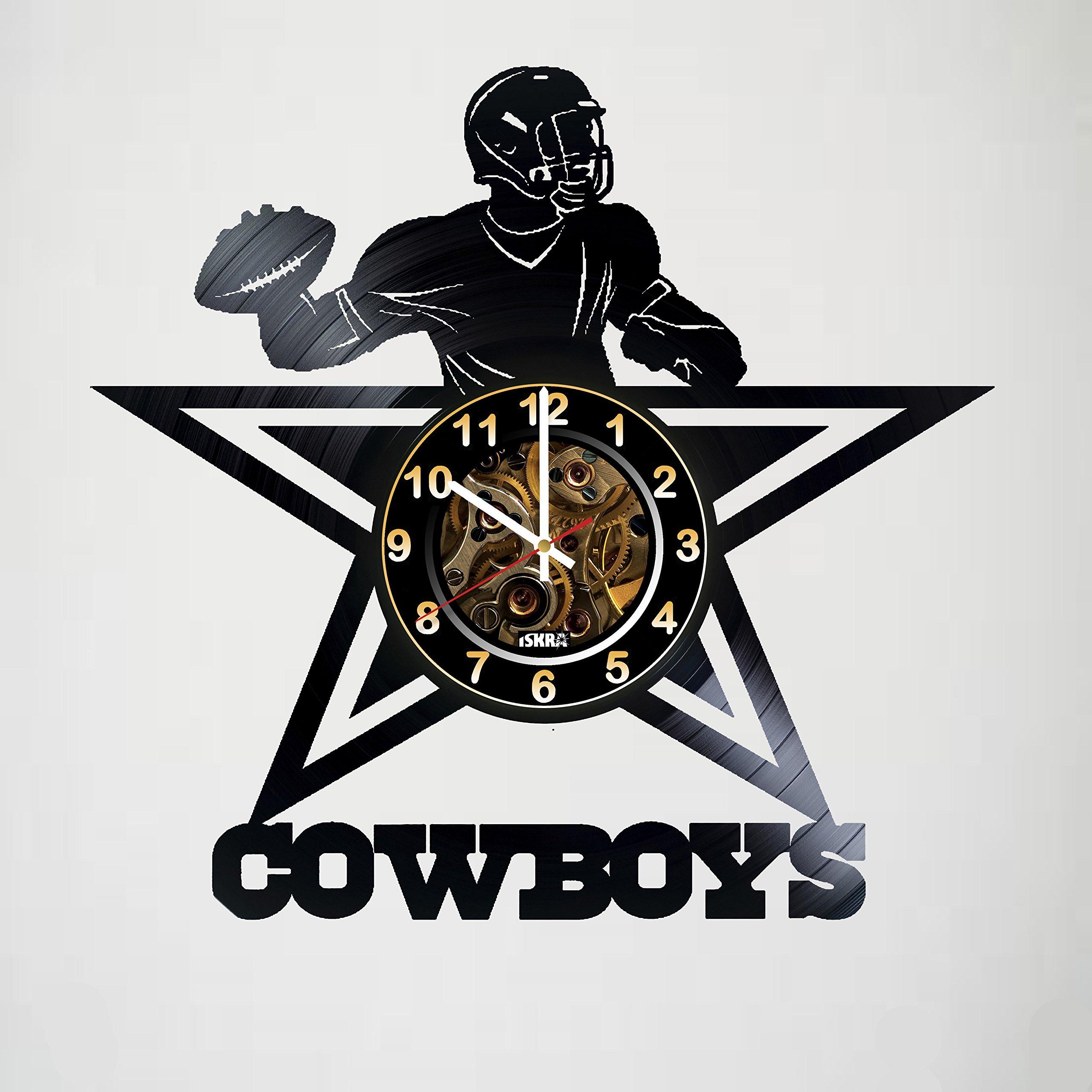 Dallas Cowboys - Football Team - Vinyl Record Wall Clock Artwork gift idea for birthday, christmas, women, men, friends, girlfriend boyfriend and teens - living kids room nursery - Best gift idea