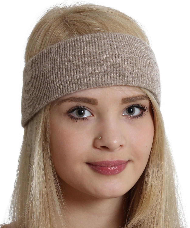 Brubaker Fascia per capelli Benda Elastico in lana di pecora e angora - Unisex Stirnband-silber-mel