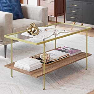 Nathan James 31201 Asher Mid-Century Rectangle Gold Coffee Table, Glass Top and Rustic Oak Floating Shelf for Storage with Sleek Brass Metal Legs to Accent Any Modern Industrial Living Room
