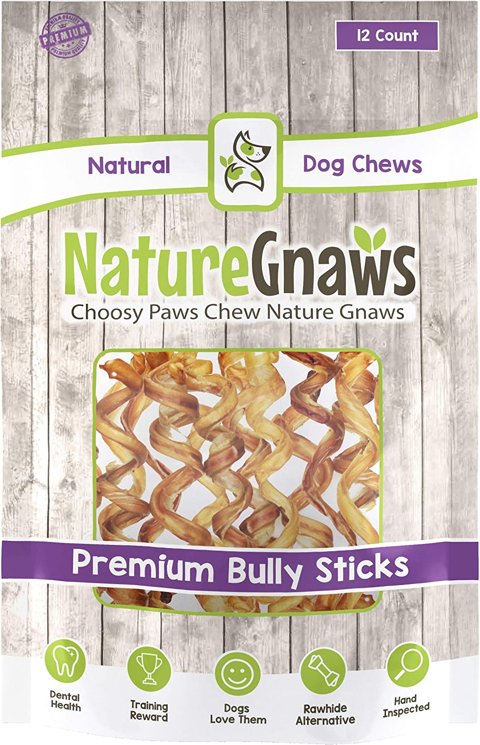 Nature Gnaws Bully Stick Springs – 100 Natural Beef Dog Chews