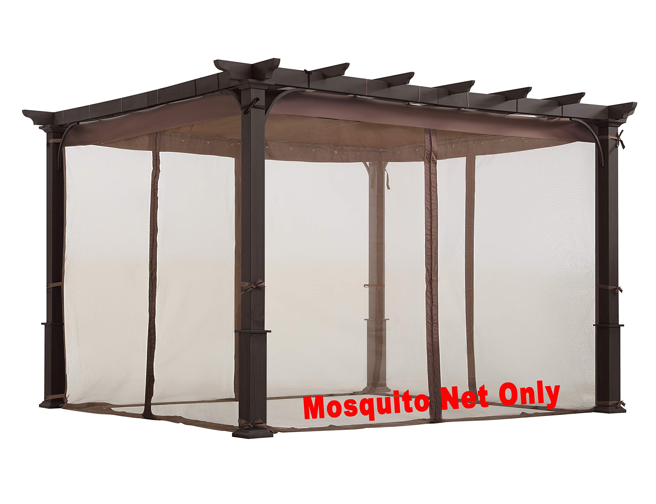 ALISUN Mosquito Net for Flat-Roof Pergola - Mesh Bug Net Only (10 ft. x 10 ft, Brown)