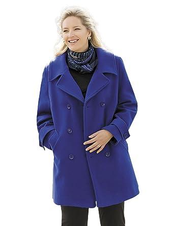 52aeb067fda Ulla Popken Plus Size Classic Pea Coat - Royal