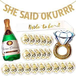 SHE Said OKURRR Bachelorette Party Decorations Banner Kit with Bridal Shower Party Balloons and Bride to Be Sash - Complete Hen Party Decorations and Supplies Set