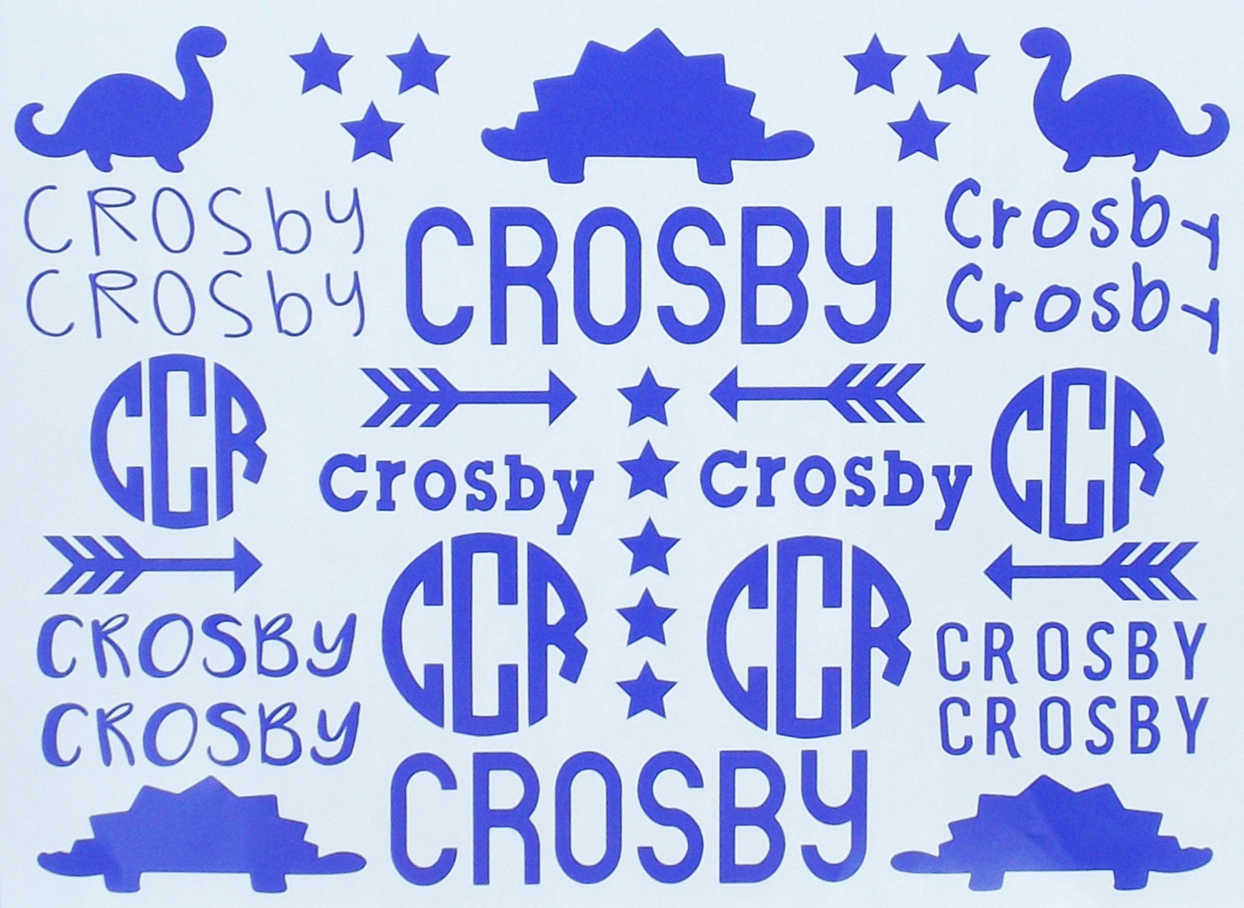 School Name Labels - Monogram Decal - Cheer Sports Bag Labels - School Organization - Six Designs - Boys Girls - Dinosaurs