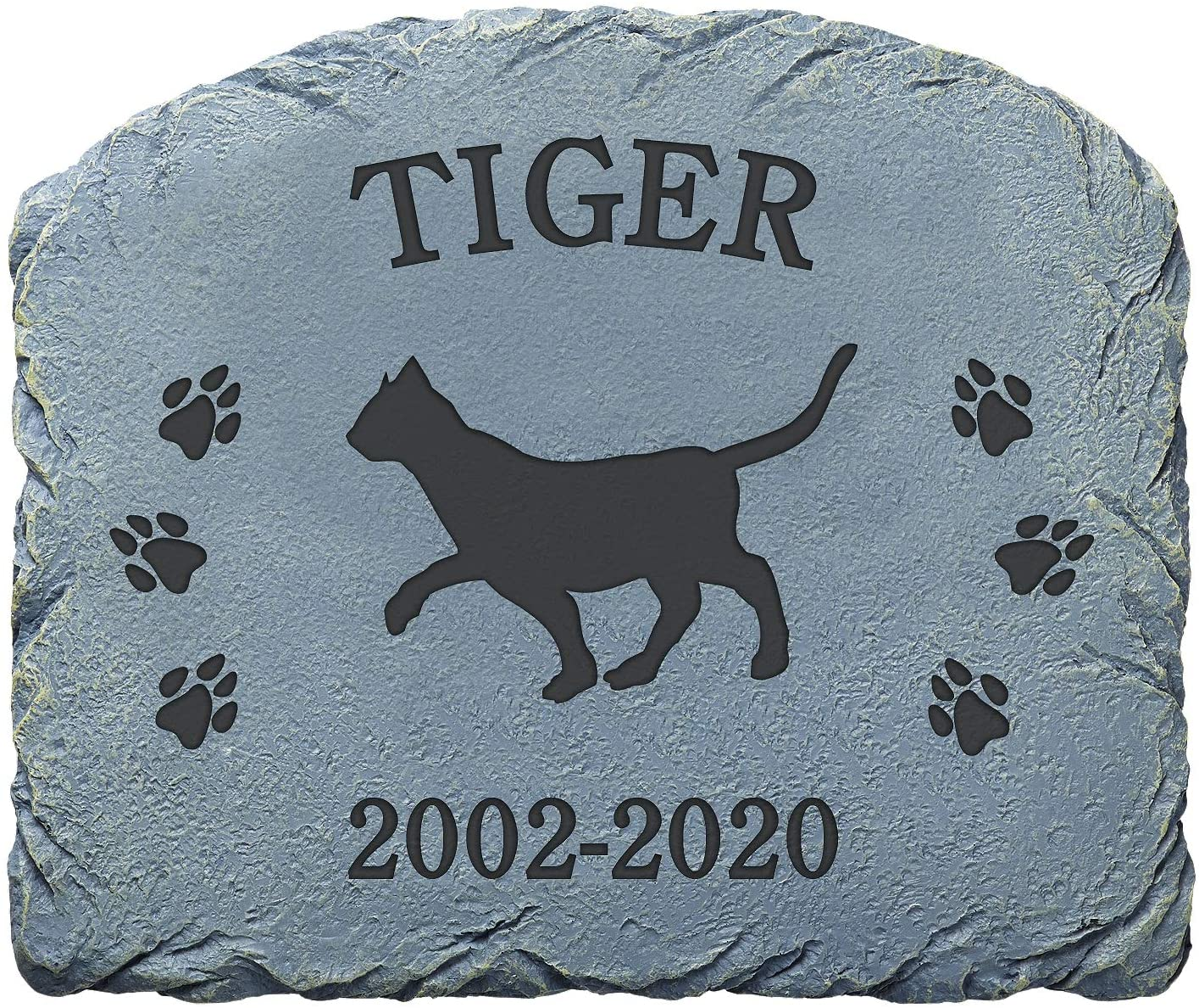 "Let's Make Memories Personalized Memorial Garden Stone - Pet Memorial - Sympathy Garden Stone -Cat Memorial - Cat Garden Stone - Engraved with Your Pet's Name - 9 1/2""L x 11 1/2""W x 1/2""D"