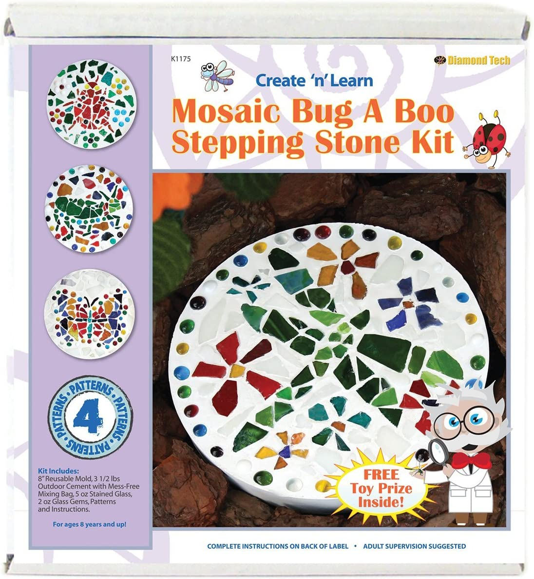 Diamond Tech Create N Learn Mosaic Stepping Stone Kit, Bug-A-Boo