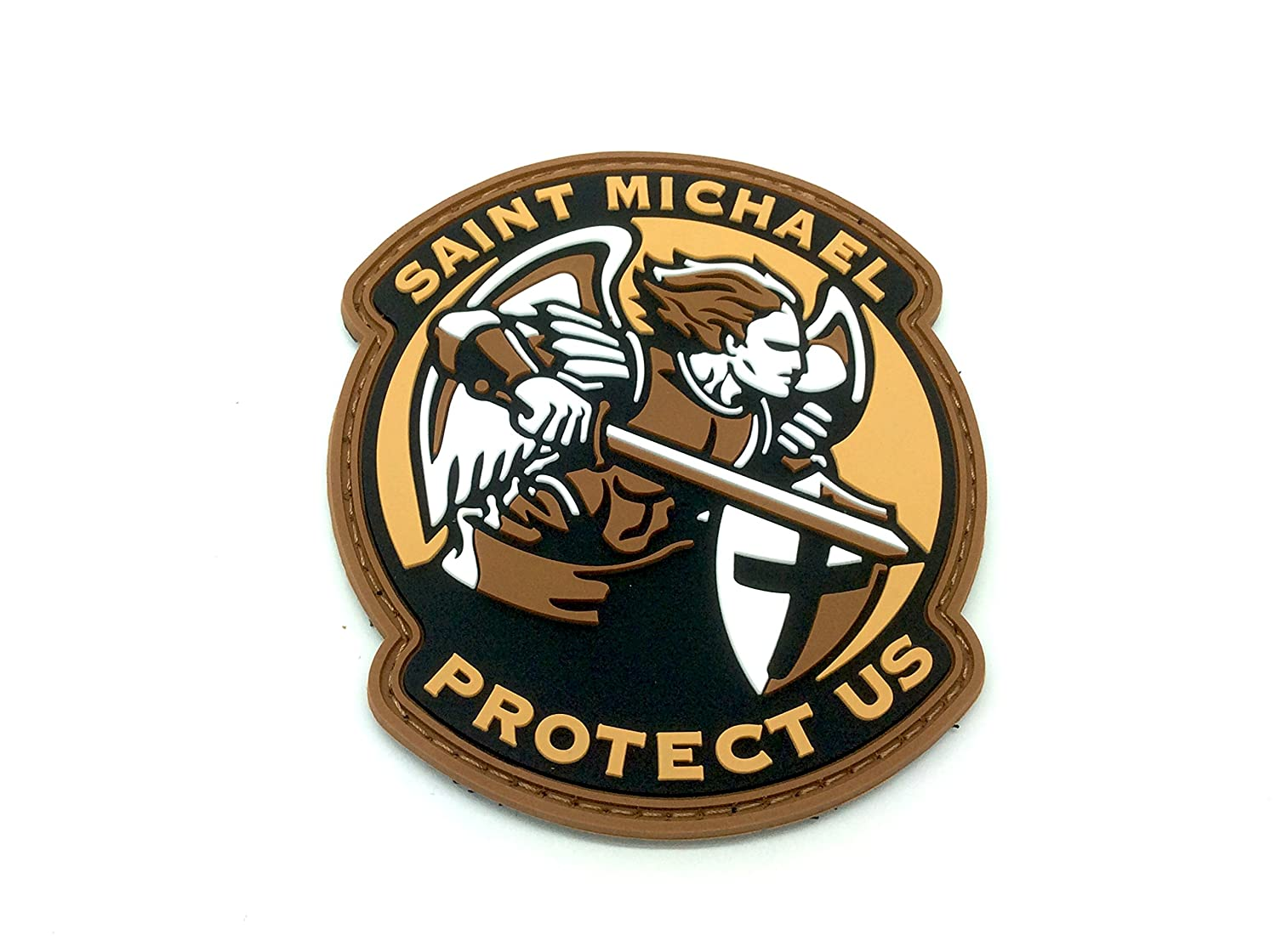 Saint Michael Protect Us Crusader Terra Scura Airsoft Patch PVC Toppa Patch Nation