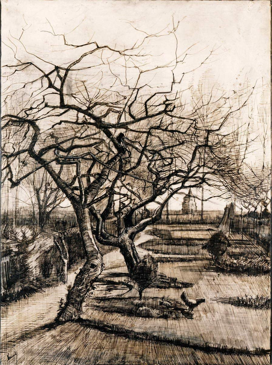 Berkin Arts Vincent Van Gogh Giclee Canvas Print Paintings Poster Reproduction(The Parsonage Garden at Nuenen in Winter) #XFB