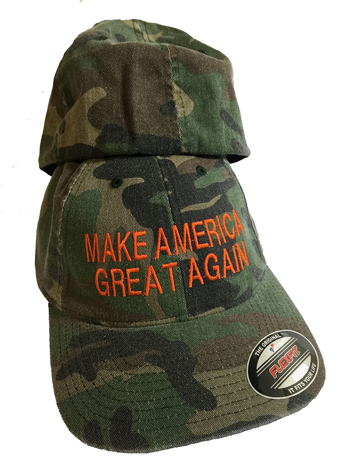 3c333c76ff Amazon.com   Camo FlexFit Trump Hat Embroidery Cap MAGA Make America Great  Again Orange Thread Size L - XL   Everything Else