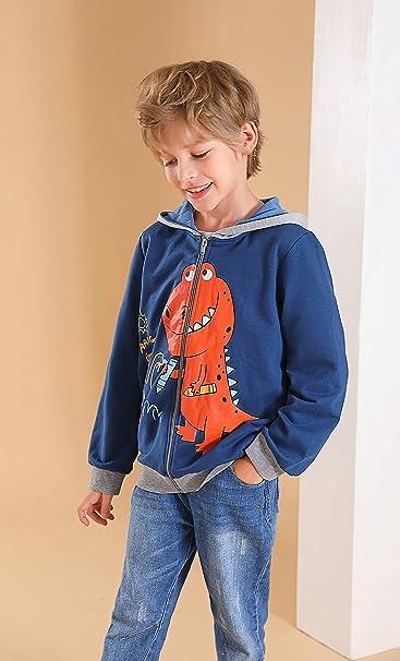 Garsumiss Toddler Boys Hoodies Jacket Cartoon Dinosaur Zipper Packaway Spring Coat for Kids 2-8 Years