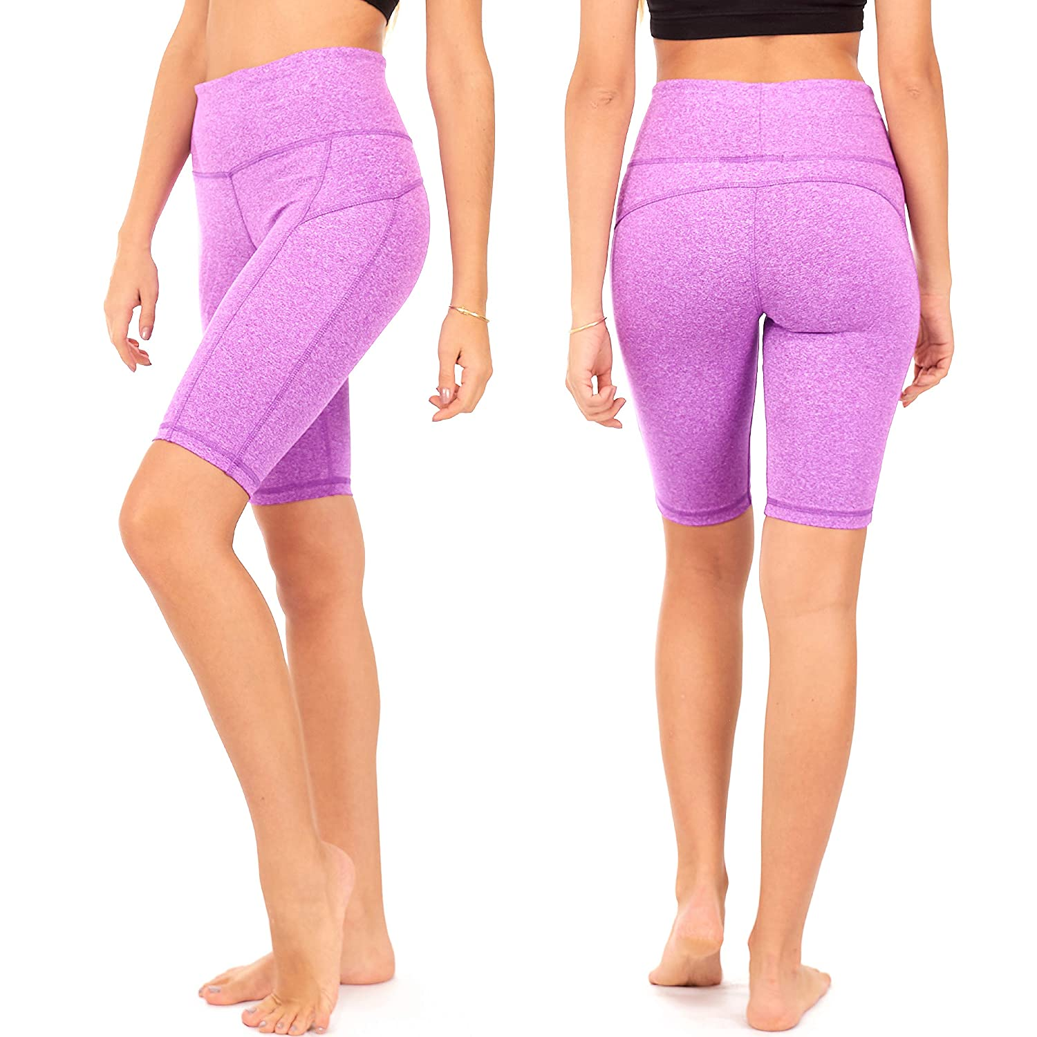 """S3 DEAR SPARKLE Yoga Shorts Running Short with 3 Pockets for Women 9/"""" Workout High Waist Tummy Control Plus"""
