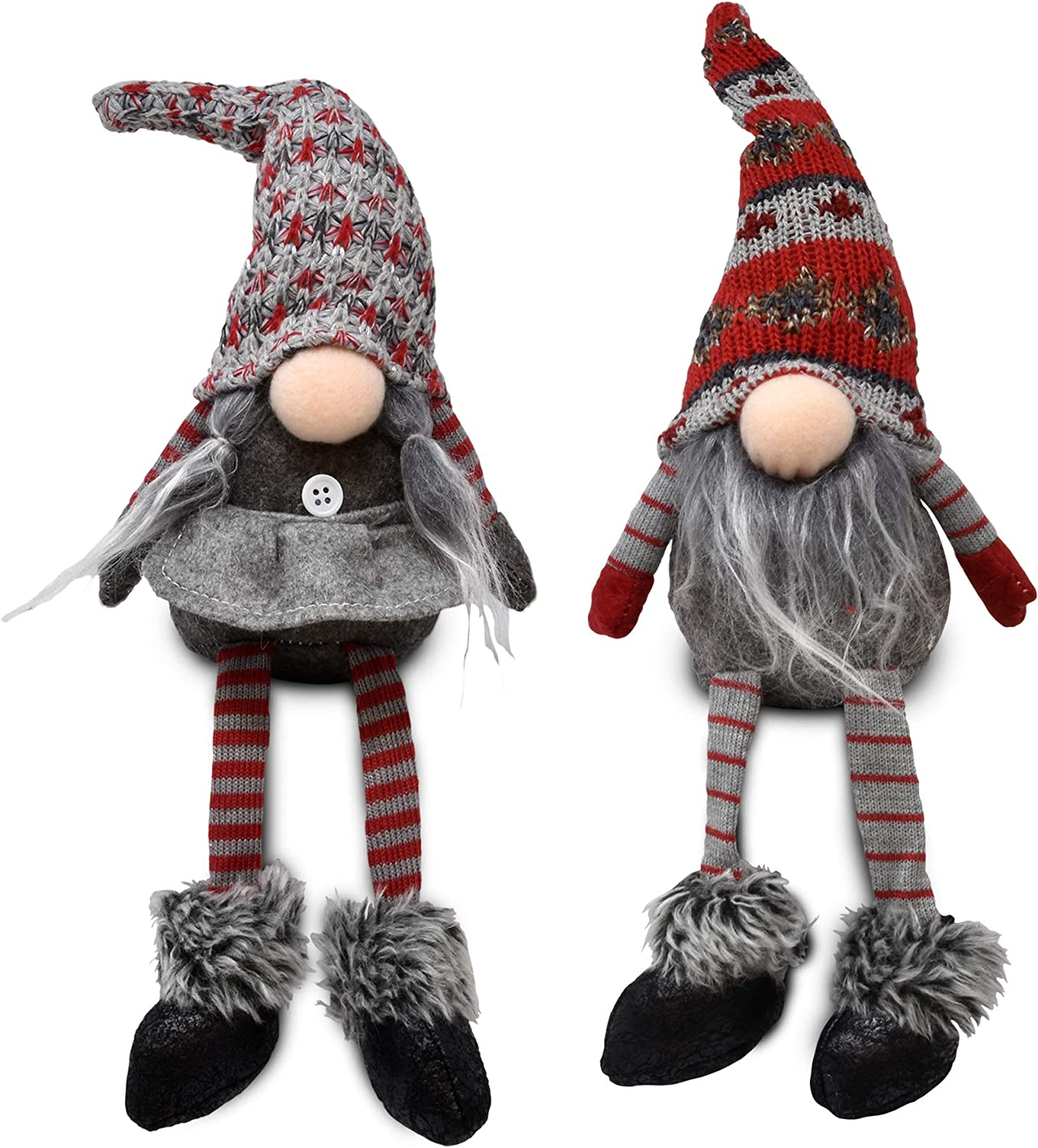 Gift Boutique Plush Christmas Gnome Shelf Sitter Decoration, 2 Pack Stuffed Gnome Figurines Decor for Home Table Shelf Desk Fireplace Mantle