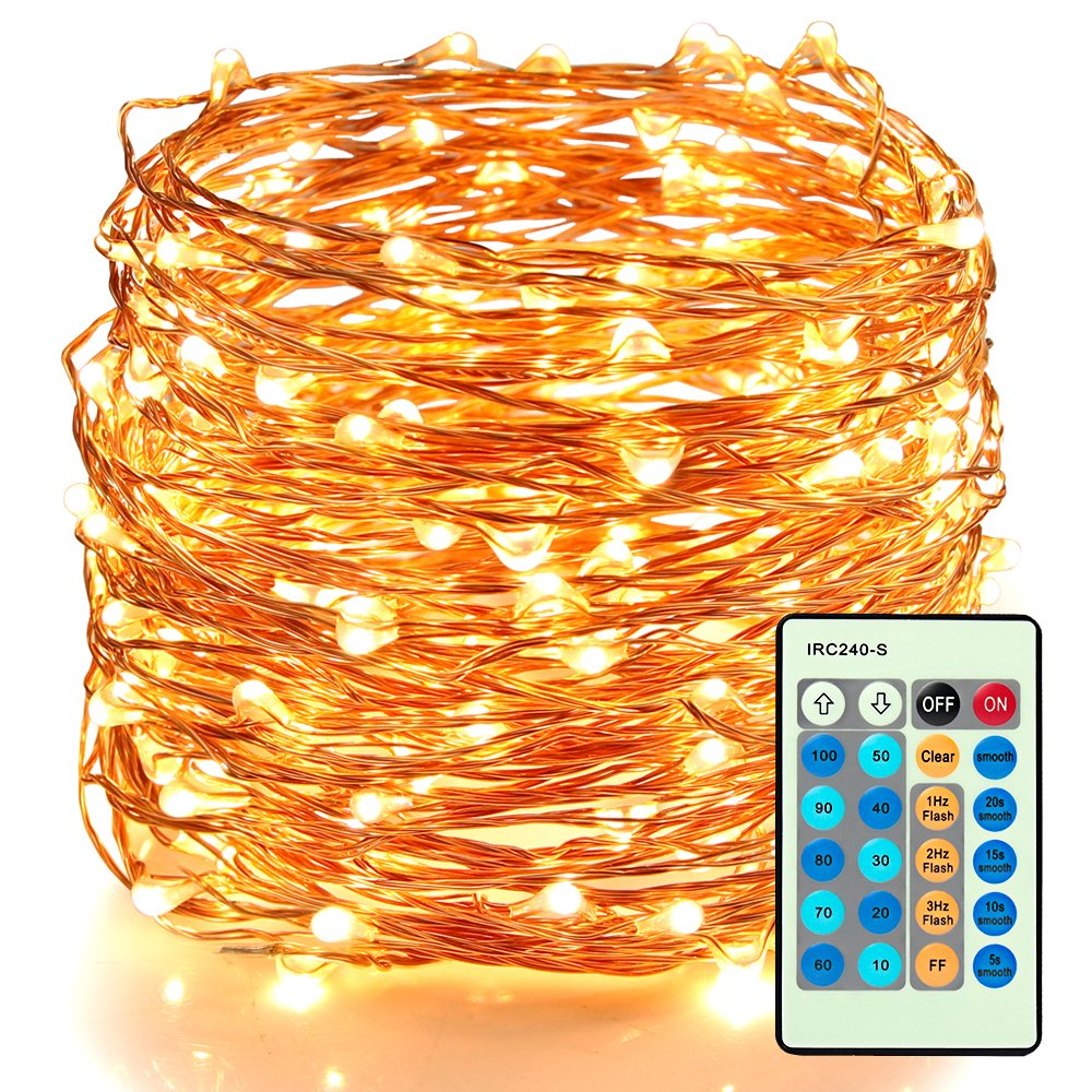 Moobibear LED Decorative Fairy String Lights 66ft 200 LEDs Dimmable Outdoor/Indoor Starry String Lights, Warm White Copper Wire Lights with Remote Control for Garden Room Patio Party