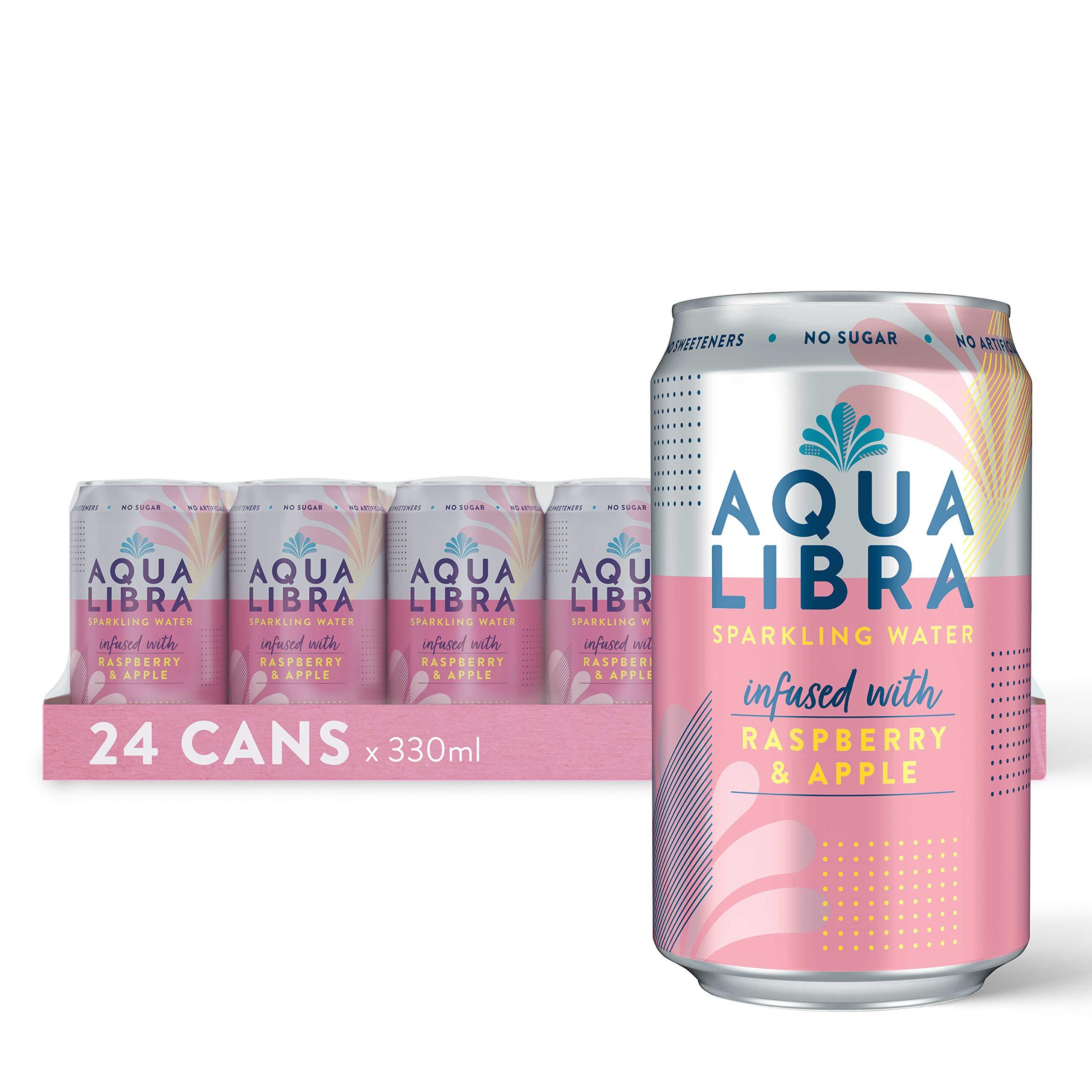 Aqua Libra Sparkling Water, Sugar Free Fruit Water, No Sugar, No Calories, Raspberry & Apple, 330 ml, Pack of 24 Cans