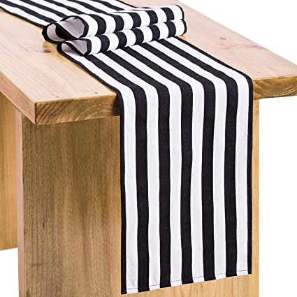 Something black and white striped table runners