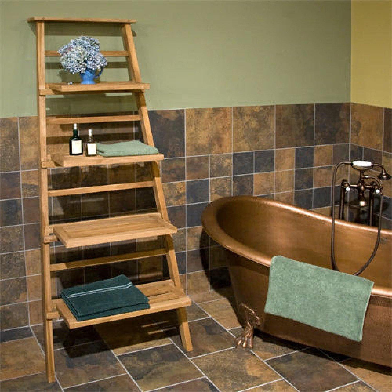 Naiture Teak Leaning Towel of Shelves in Teak Finish