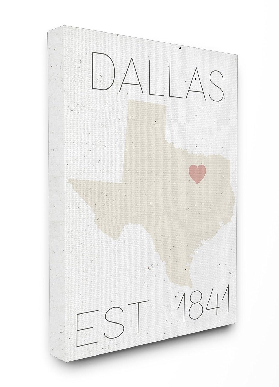 Stupell Industries Dallas Est 1841 XXL gedehnt Art Wand, Stolz Made in USA, Leinwand, Mehrfarbig, 76,2 x 3,81 x 101,6 cm