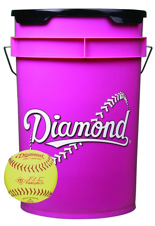 ダイヤモンド6-gallonボールバケットwith 18 drc-10rfpsc 10-inch Softballs、イエロー B074FRX1DS