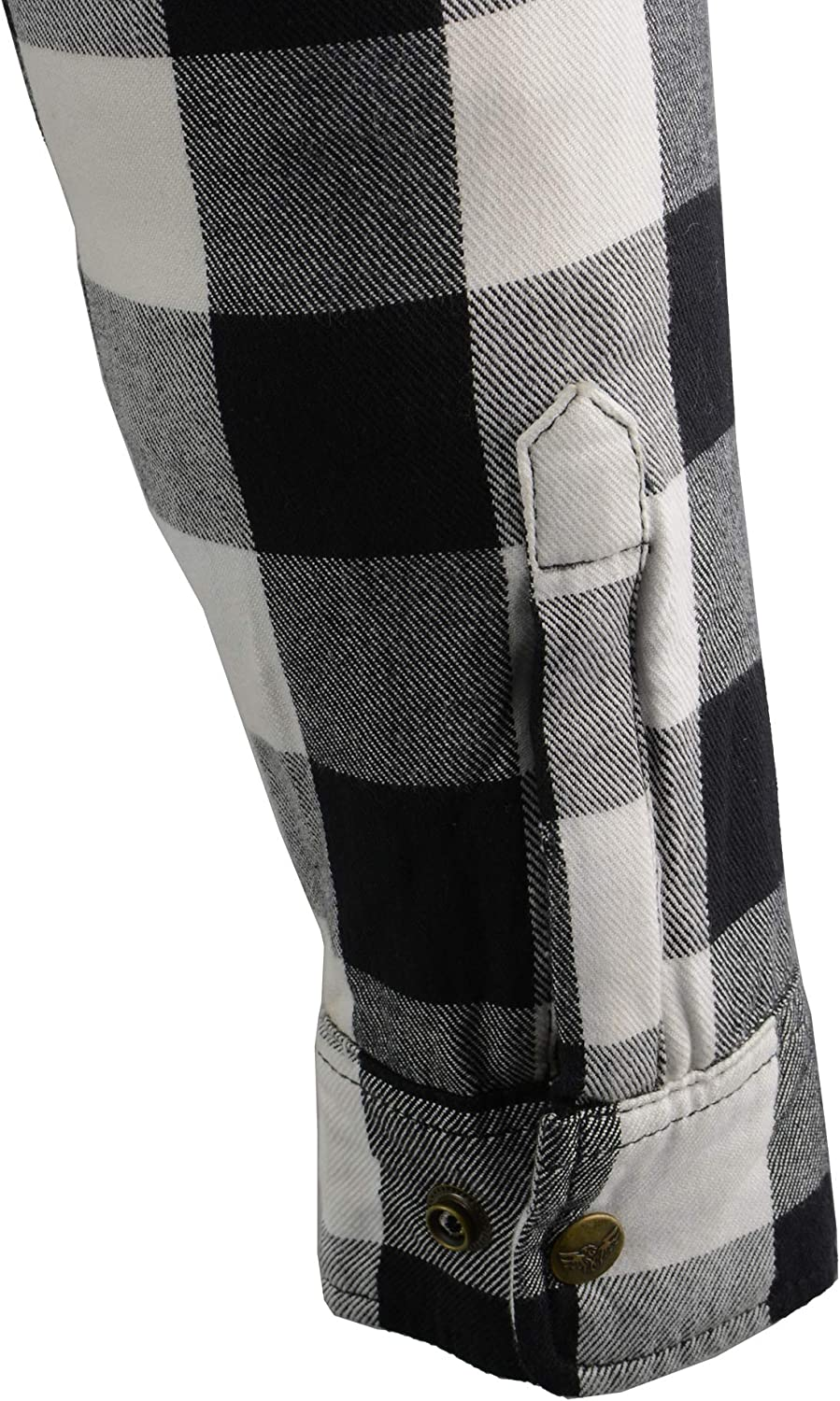 Medium Milwaukee Leather MPM1633 Mens Armored Checkered Flannel Biker Shirt with Aramid by DuPont Fibers Blk//White
