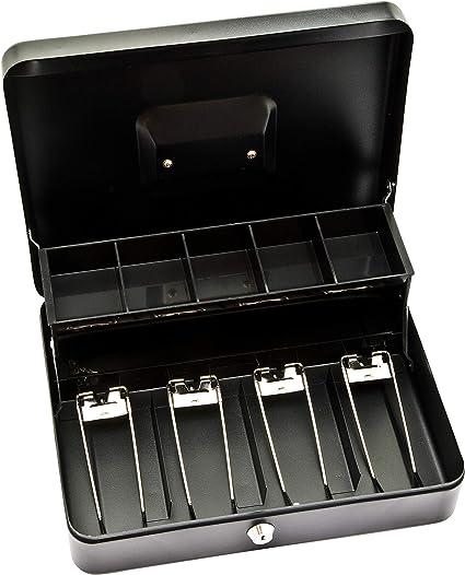 Caja de efectivo Deskit de 12 pulgadas con 2 claves así como bandeja de efectivo. Manten tu dinero seguro en el camino (Negro): Amazon.es: Oficina y papelería